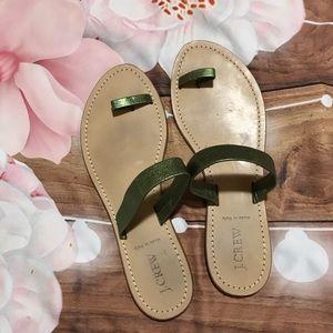 J. Crew metallic green sandals